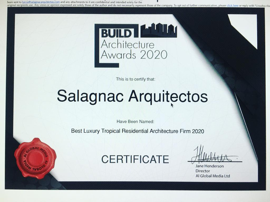 The 2020 Build Architecture Award was presented.