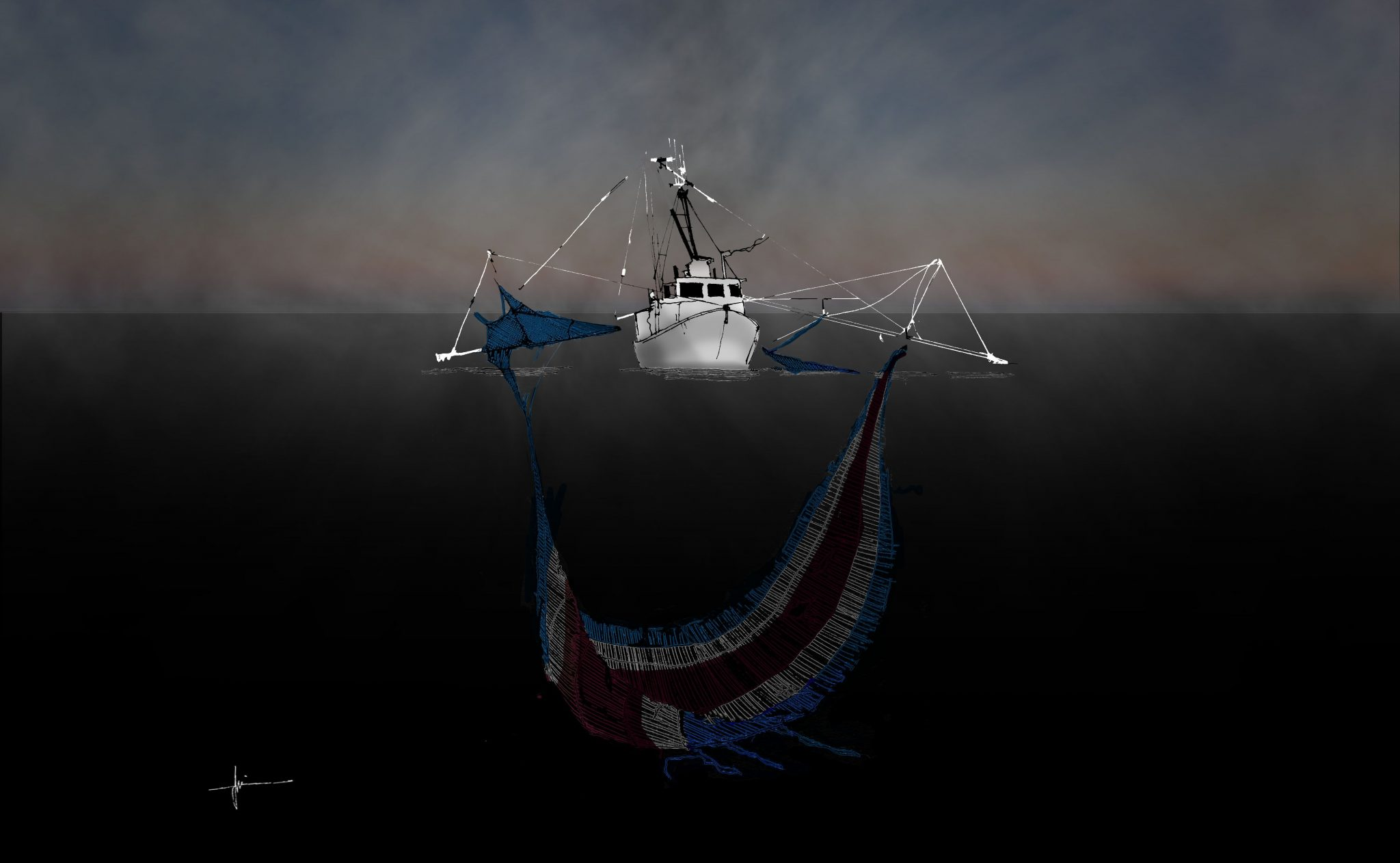 Pesca de arrastre ilustracion