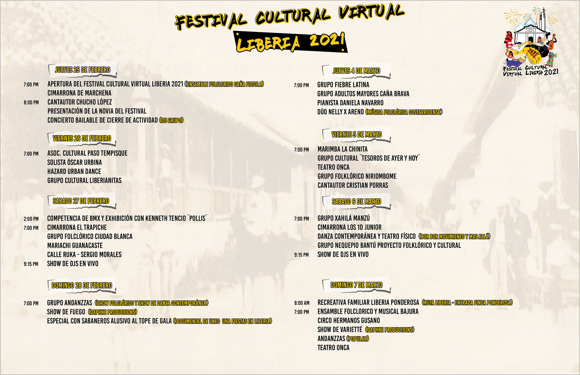 Agenda del Festival Cultural Virtual 2021